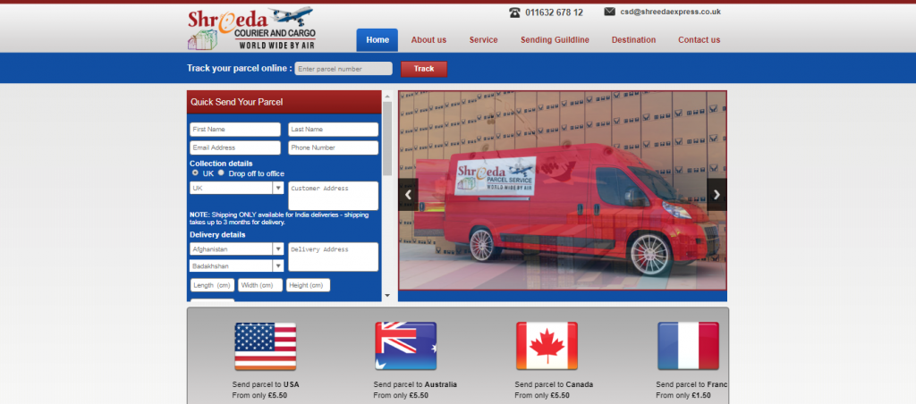 Shreeda Parcel Service Low cost parcel service to India